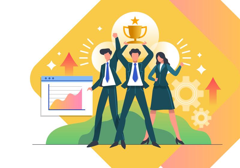 社員総会や社員表彰において受賞は1人の力ではなく、部署・チーム全体の力